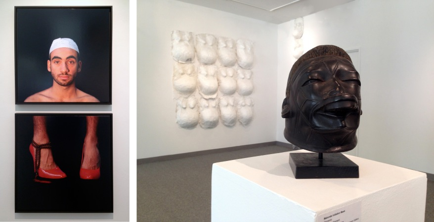 "Mehdi Georges Lahlou, ""Sans Titre Haut et Bas (Diptych)"" 2009 | Adrienne Wheeler, ""Njorowe Pregnant Belly Masks"" 2012-15 with Makonde Initiation Mask"