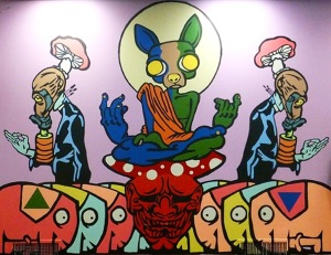 "Soma Trickster and Myself Wall #2, Acrylic paint on wall, 119"" x 165"", 2012 (Image courtesy of the artist's website)"